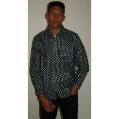 Mørkeblå langærmet skjorte