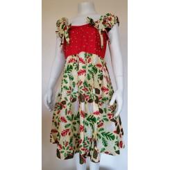 Gul kjole med rød satin