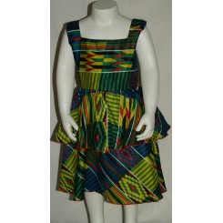 Ærmeløs kjole i blandede farver