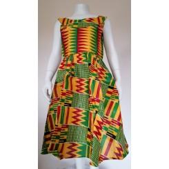 Gul kjole med grønne mønstre