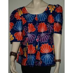 Mørkeblå bluse med orange/lilla mønstre