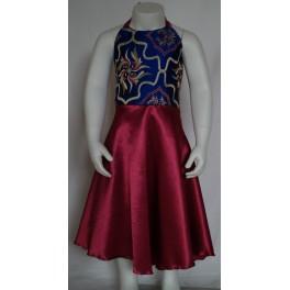 Satin kjole med blå blomstret top