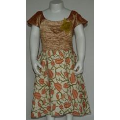 Blomstret kjole med brun top