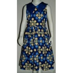 Blå kjole med satin krave