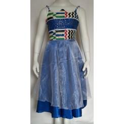 Blå satin kjole med hvid organza