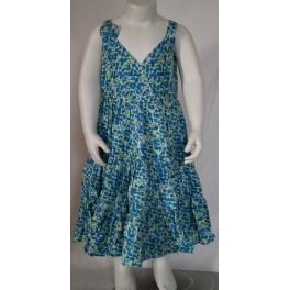 Blå/gullig kjole